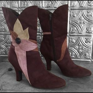 Predictions Flower Design Faux Suede Heeled Boots